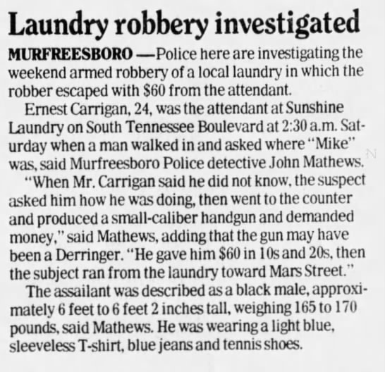 Carrigan, Ernest The Tennessean (Nashville, Tennessee), 23 Aug 1988, Tue, Page 41, col. 3