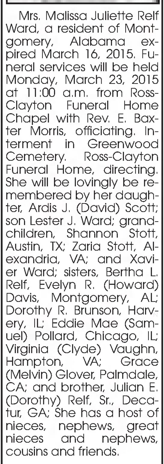 Malissa Relf Ward Obituary