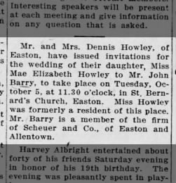 1915 - Mae Howley & John Barry Wedding