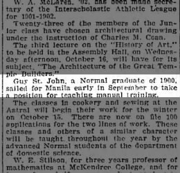 Guy ST John - 10/13/1901 Education Notes: Pratt Institute