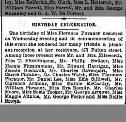 Birthday Celebration for Miss Florence Phraner at her home 573 Fulton Street, Brooklyn, NY,