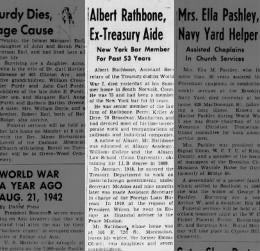 Brooklyn Daily Eagle 21 Aug 1943 - Albert Rathone