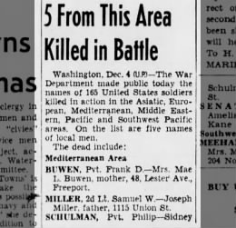 1943 Death of Samuel W. Miller, soldier killed in action - Joseph Miller, father