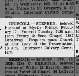 20 Feb 1939, The Brooklyn Daily Eagle, Stephen Driscoll's obituary