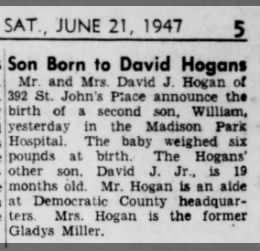 David J Hogan and Gladys welcome their 2nd son William