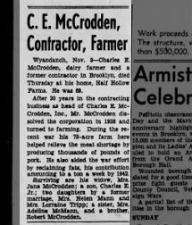 Charles E. McCrodden Obit Nov 1946
