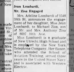 Mrs Adeline Lombardi 1548 59th St Brooklyn - Daughter Jean engaged to Michael Zisa