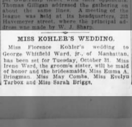 kohler-ward wedding announce 10/27/1905