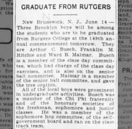 Grandpa's Graduation announcement from Rutgers, 1915