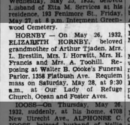Hornby, Elizabeth - BDE Death Notice 27 May 1932