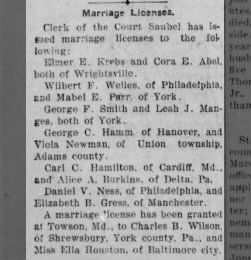 Wilbert F. Welles  Mabel E. Parr's wedding announcement