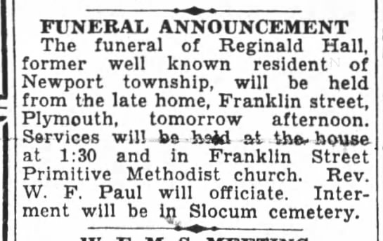Hall, Reginald Sept 1931 Obit
