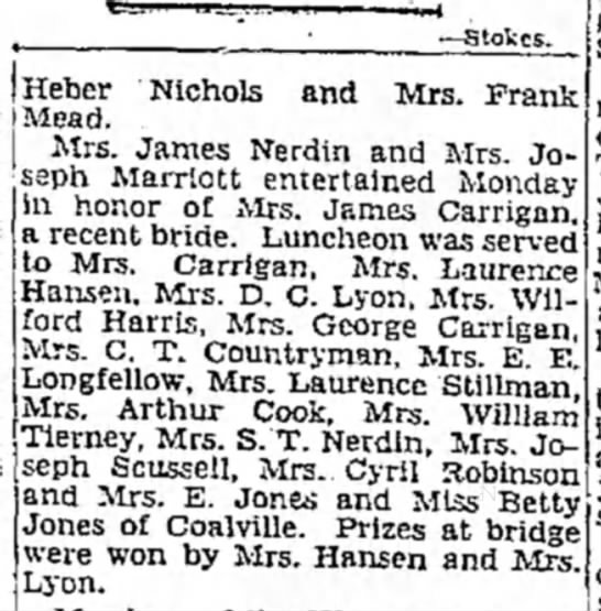 1931 Nona N. Carrigan luncheon honoring her marriage. June 28, SLTrib p. 44