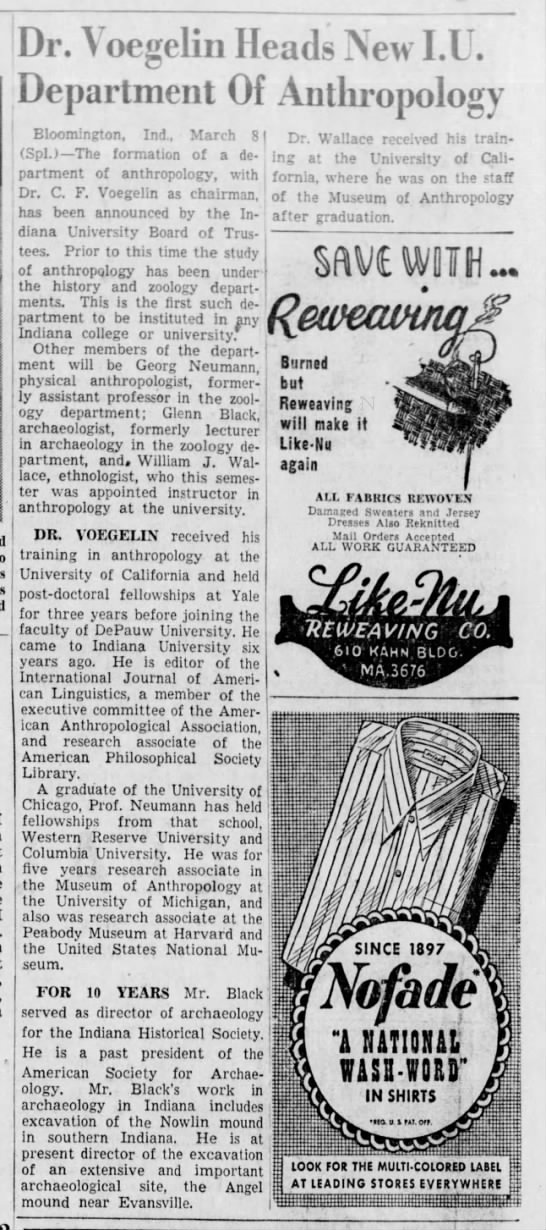 The Indianapolis Star 9 Mar 1947 p.6 Georg Neumann member of new Department of Anthroplogy at IU