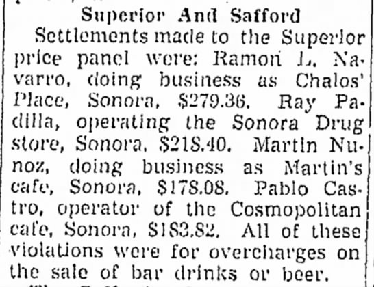Arizona Republic Aug 18, 1945 Chalos' Place, bar owned by Ramon L Navarro