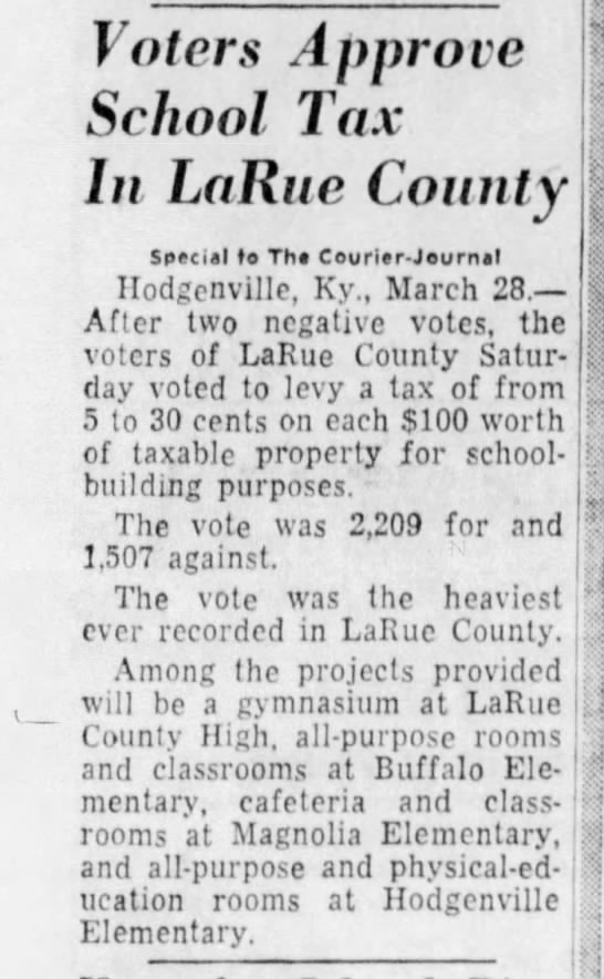 1959 - School Tax - largest vote ever recorded