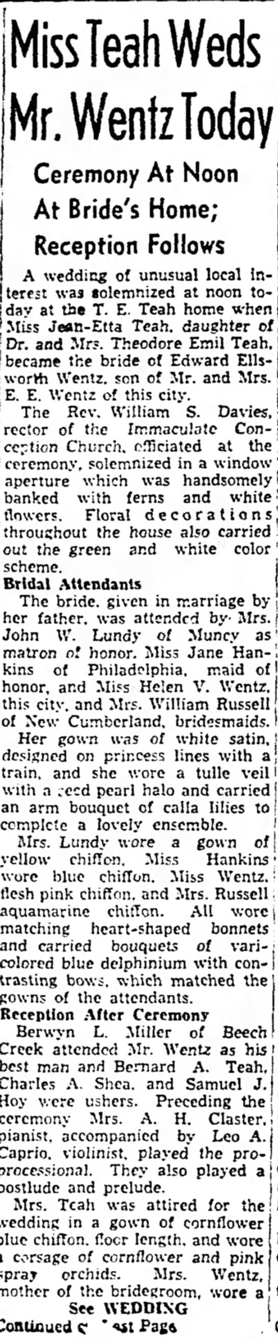 Wentz - Teah Wedding June 1938
