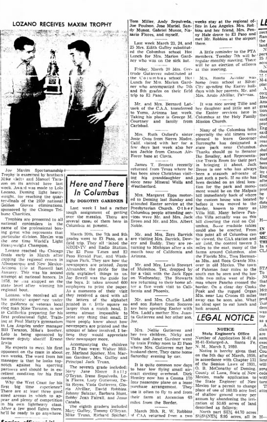 """""""Here And There In Columbus"""" article mentions Jack Truan and Michael Truan. April 1959"""