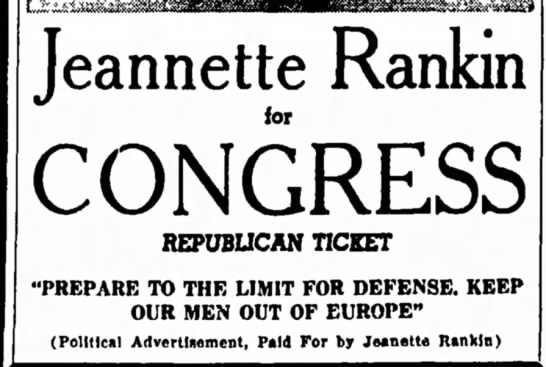 Ad for Jeannette Rankin's 1940 congressional campaign