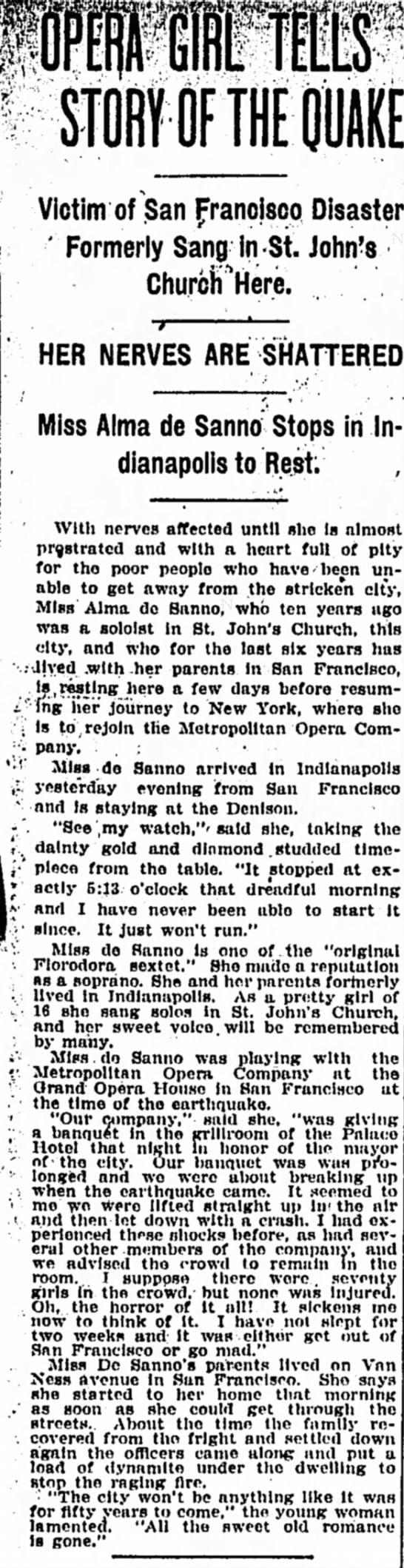 DeSanno, Alma The Indianapolis Star, Indianapolis, IN May 11 1906, Pg 7