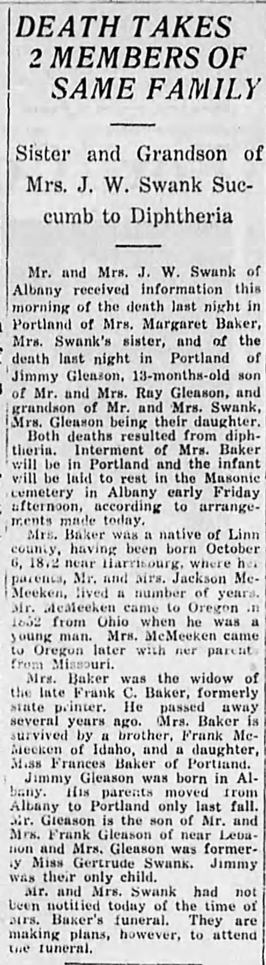 1924-5-15 Two Swank relatives die of diphtheria