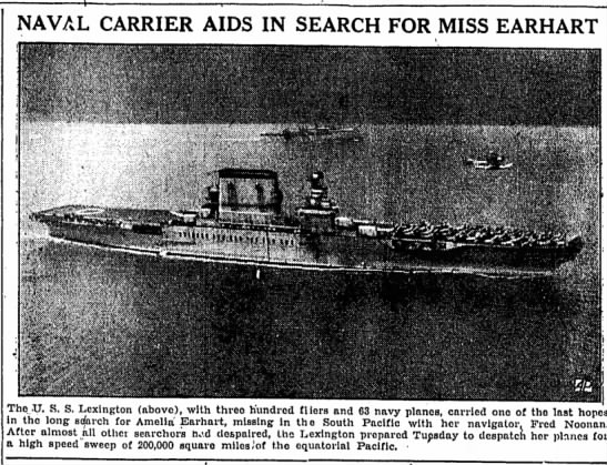 Naval varrier aids in search for miss earhart