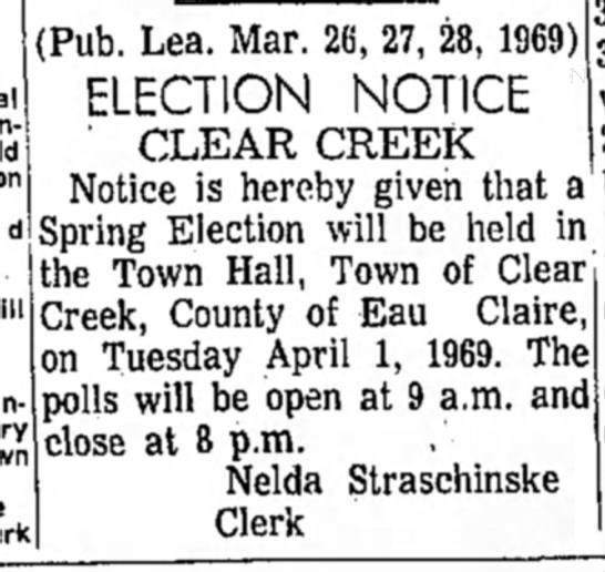 Nelda Straschinske - Election Notice Clear Creek
