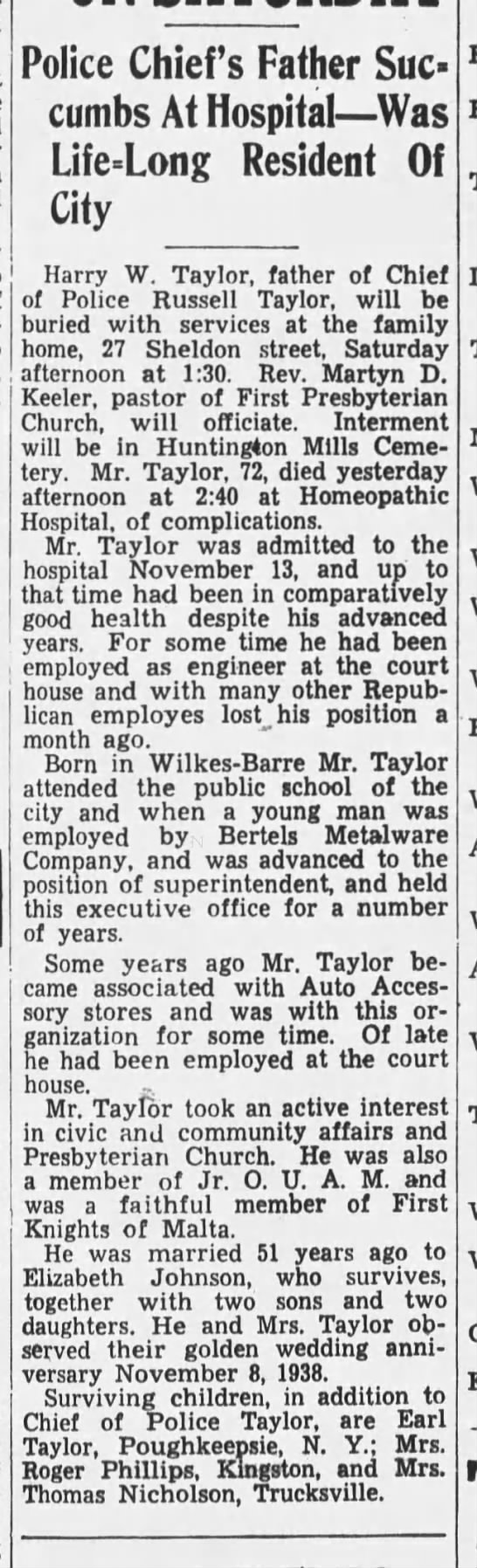 Harry W Taylor Died The Wilkes-Barre Record (Wilkes-Barre) 11-23-1939