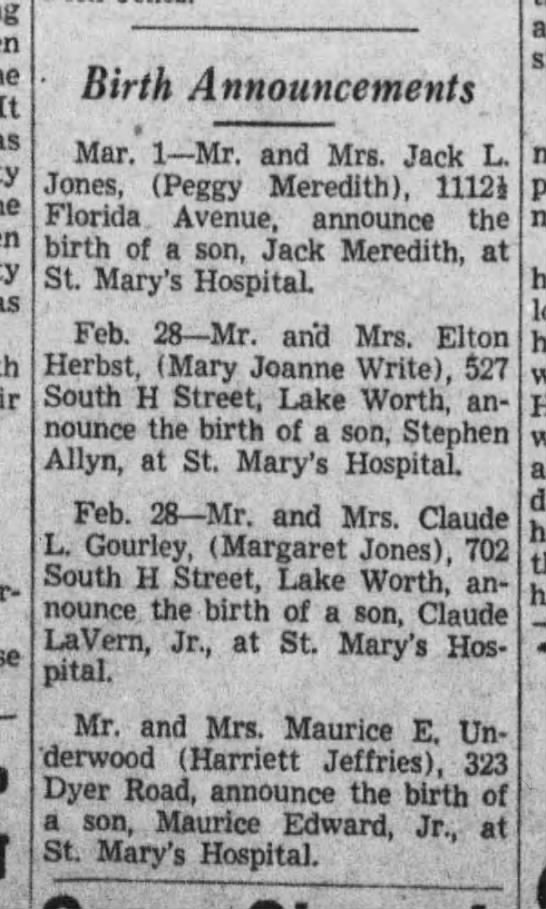 Birth announcements, 1942