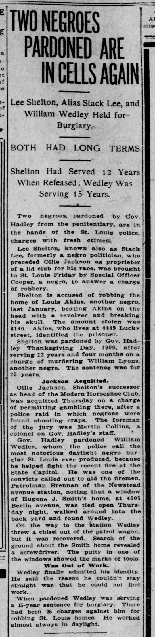 1911-03-17 - Lee Shelton - e-arrested