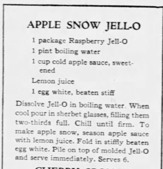 Apple Snow Jell-o recipe