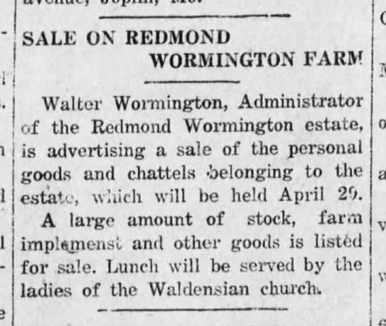 Sale on Redmond Wormington Farm