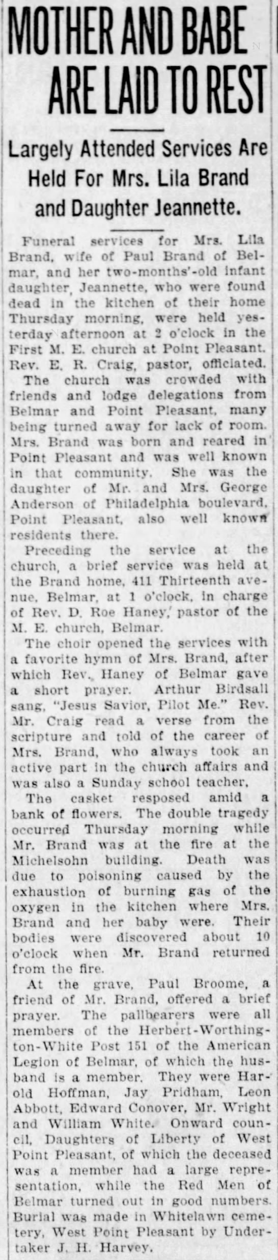 Funeral of Lila Anderson Brand and daughter, Jeanette