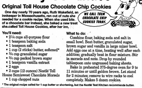 Current Toll House cookie recipe