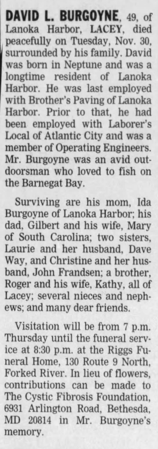 Burgoyne,David L-Obituary Wednesday, December 1, 2004 Page 7