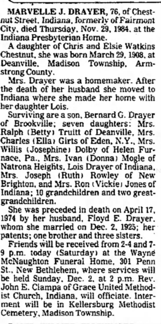 Marvelle J. Chestnut-Drayer Obit