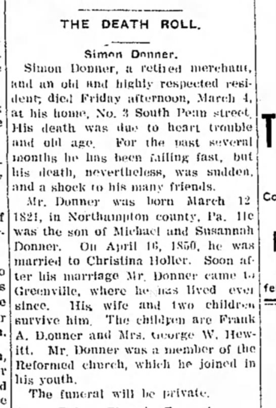 Simon Donner Obit 1910
