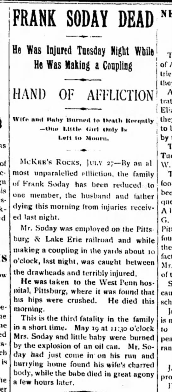 Frank Soday Dead, July 1898