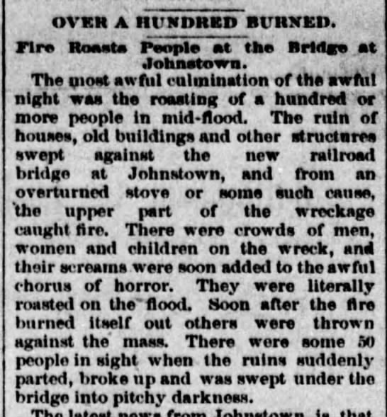 Fire breaks out during Johnstown Flood of 1889