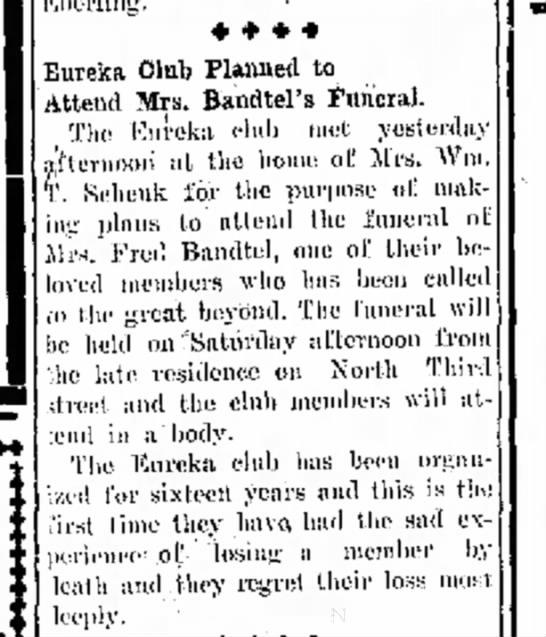 Mrs. Bandtel's funeral, The Journal News Hamilton,OH  Fri. Nov.5,1915 p.3