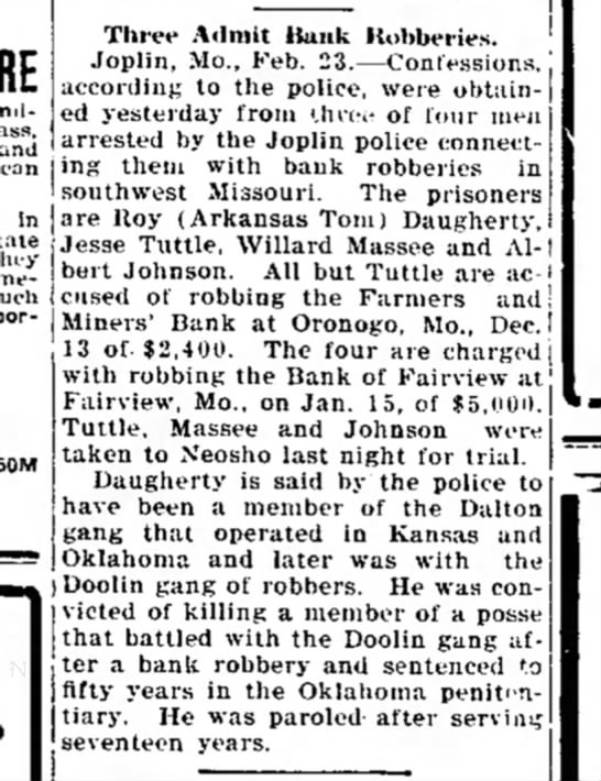 Robberies SW MO 1917