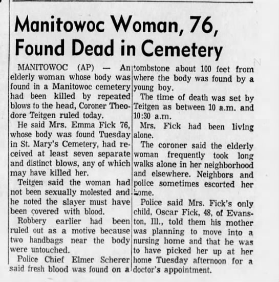 17 June 1970 Emma Fick found dead in Evergreen Cemetary