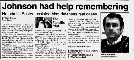 Oct 25, 1995, Monfils Homicide: Johnson had help remembering