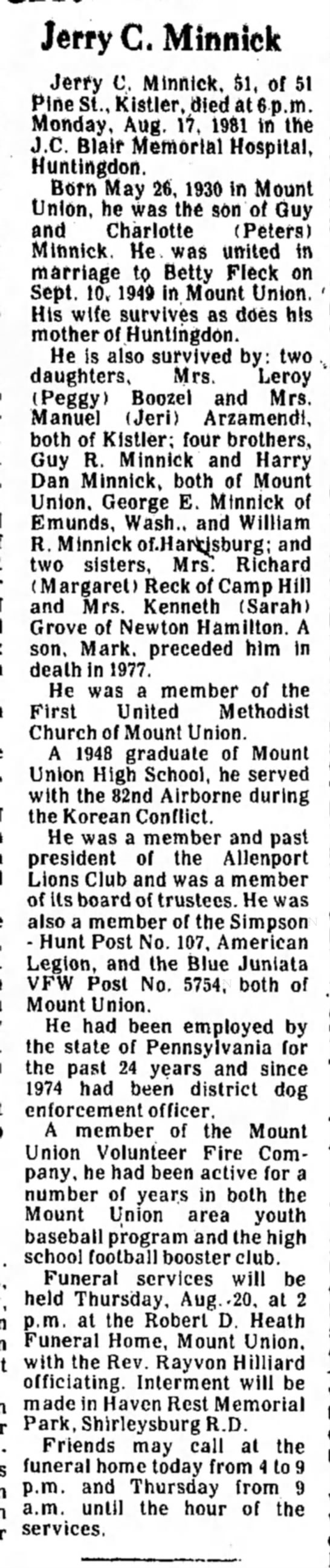 Jerry Minnick-Mt. Union-obit-TDN-page 2-19 August 1981