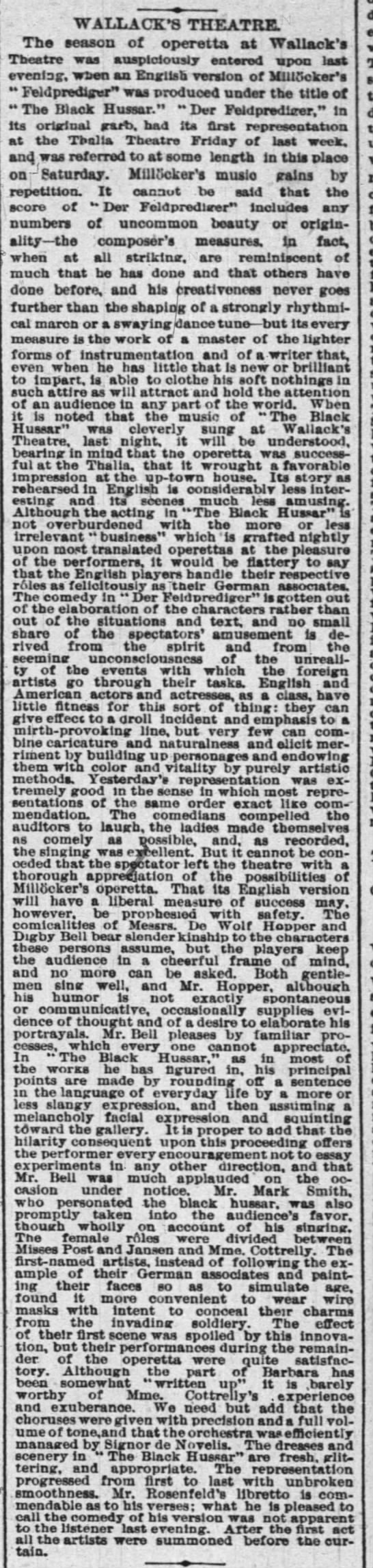 Review of The Black Hussar at Wallack's NYTimes 5 May 1885