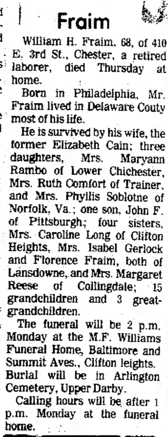 Fraim William H obit 9 Aug 1975 Delaware County Daily Times Chester PA page 4