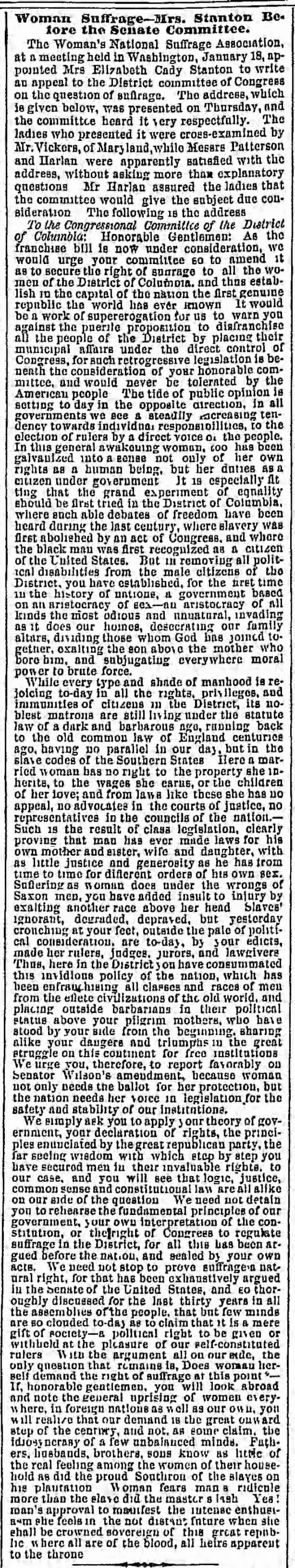 Elizabeth Cady Stanton addresses the Congressional Committee of the District of Columbia in 1869.
