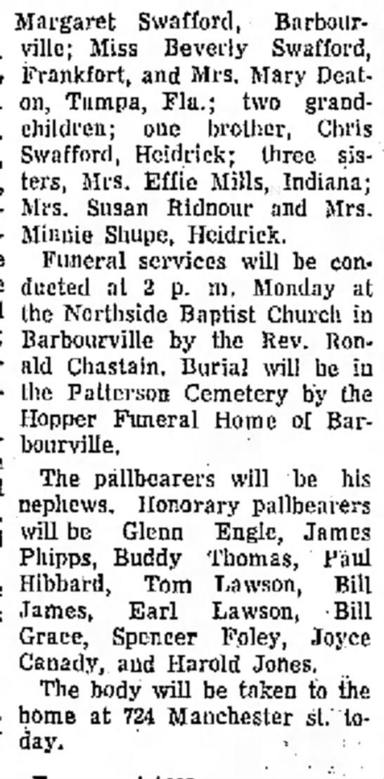 Charlie Swafford Obituary 19 October 1969 part 2