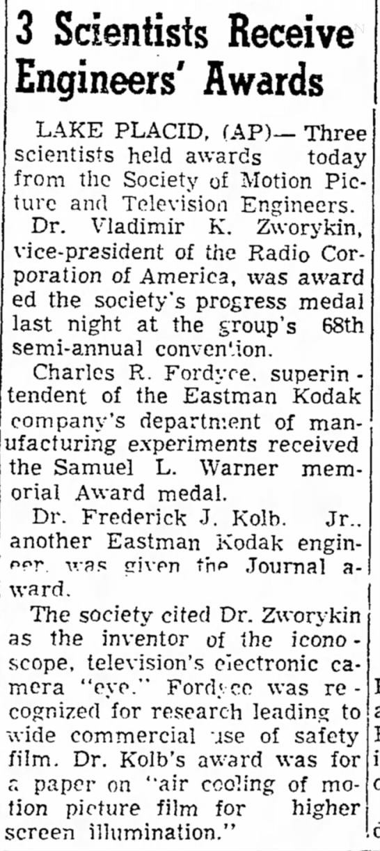 Kolb, Frederick 1950 engineering award