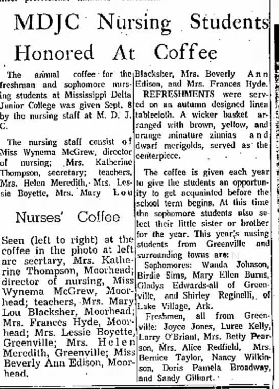 Shirley Reginelli MDJC Nursing Students Honored 17 Sep 1967 The Delta Democrat-Times, Greenville, MS